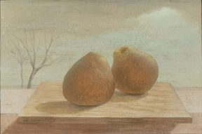 A painting of two pears sitting on a small wooden platteragainst a soft blue sky