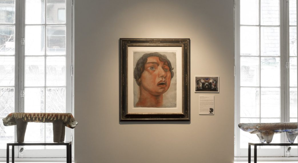 Installation shot of a Diego Rivera watercolor in the gallery's show Drawings by the Muralists