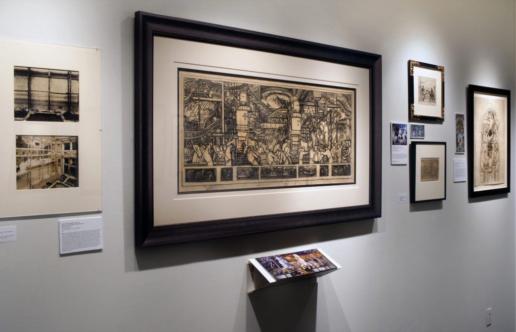 Installation shot of Diego Rivera artworks in the gallery's show Drawings by the Muralists