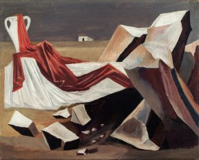 Still life of a white and a draped red cloth on a rocky landscape