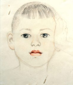 A realistic drawing of the head of a young child, rendered in pencil with a few color details.