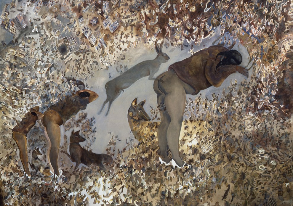 A painting in earth tones of coyotes, rabbits, and women surrounded by abstract shapes
