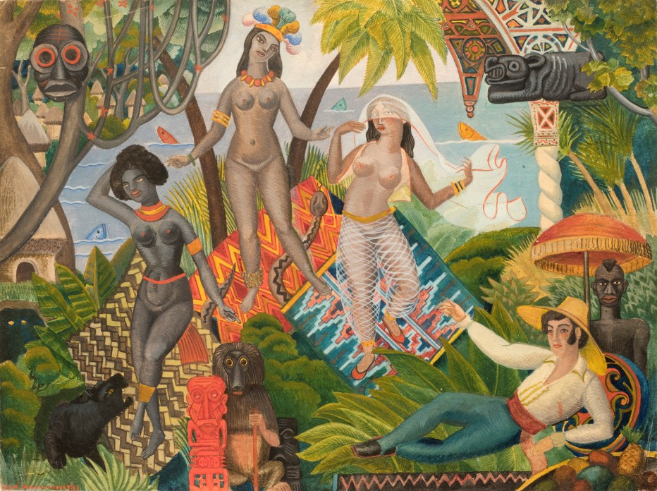 A vibrantly colored watercolor of a woman lounging in a tropical forest while three other women dance
