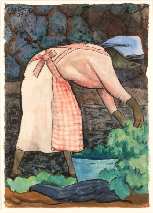 A watercolor of a woman in a pink dress and apron bent over picking green vegetables