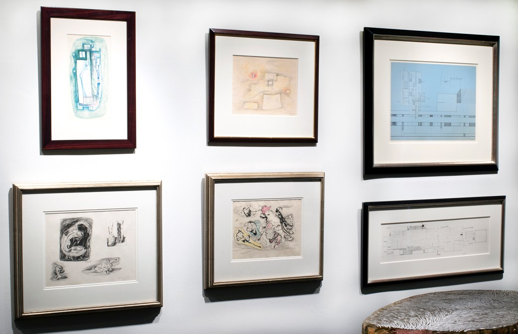 Installation shot of the front gallery with several works on paper by Gunther Gerzso