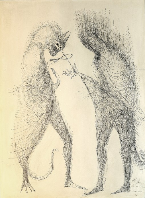 Pen and ink sketch of two surrealist creatures creating a fire in a hand with a magnifying glass