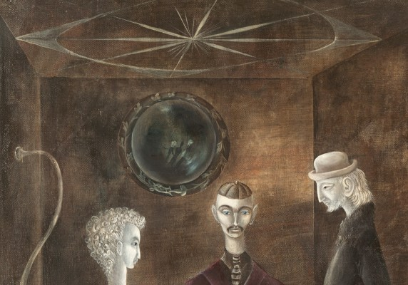 Detail of a painting by Leonora Carrington showing the heads of three figures with a convex mirror above them