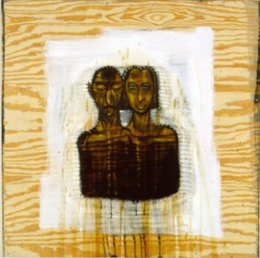 Mixed media artwork of two heads and torsos painted on a wooden board