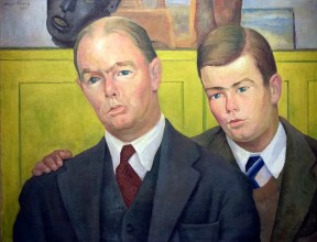A double portrait of a businessman and his son, painted in oil.