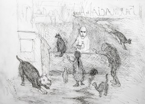 A pen drawing of a man helping people at a pharmacy counter, surrounded by cats and a growling dog.