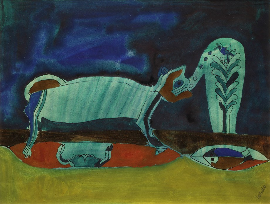 A watercolor in tones of deep blue, turquoise, red, and green showing stylized animals