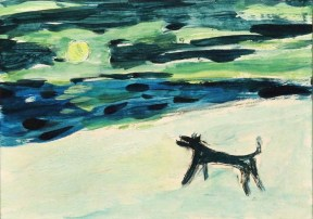 A painting of a small black dog howling at a full moon set in a blue and green sky