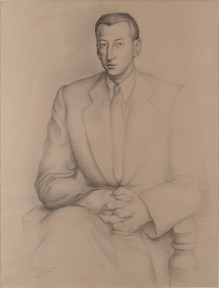 A pencil drawing of the artist Gunther Gerzso by the artist Julio Castellanos.