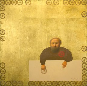 A painting of a man sitting at a table. The background is gold.