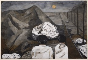A watercolor in which two figures sit with their backs facing the viewer. In front of them are hills and railroad tracks lit by the moon.