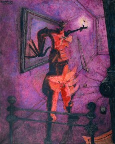 A painting in red and purple tones of an abstract female figure holding a candle aloft in a bedroom.