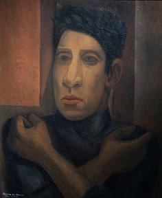 A self portrait of the mural painter Siqueiros, painted in oil.