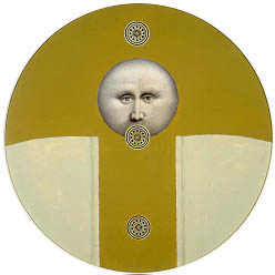 A geometric composition with a face in a circle in the middle of the painting.