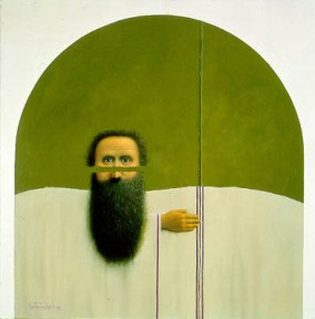 A bearded man is shown suspended above a white shape.