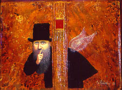 A bearded man in a black coat and top hat holds his index finger to his lips. He stands behind the spine of a book and appears to have translucent wings on his back.
