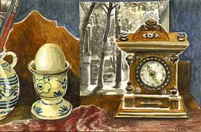 Painting of an egg cup, an antique clock, and a photograph on a shelf