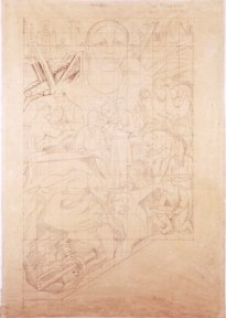 Detailed pencil study for a mural showing agrarian workers