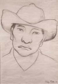 A sketch of a man wearing a hat, done in pencil.