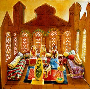 Painting of a pop up paper Moroccan style room with paper dolls inside