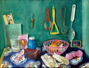 Painting of food and kitchen utensils against a green wall