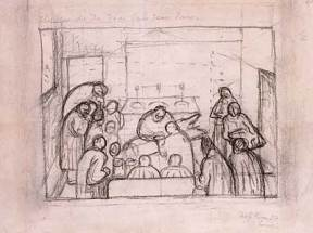 Loose pencil sketch of doctors performing an operation