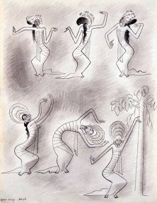 Pen and ink drawing of a Balinese dancer wearing a long tunic and a tall headdress, shown in six different poses