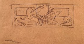 Sketch for Diego Rivera's wall-sized mural 'Man at the Crossroads'