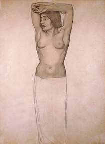 Pencil drawing of a nude woman holding her arms over her head