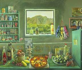Painting of a green painted kitchen with paella and limes on the counter