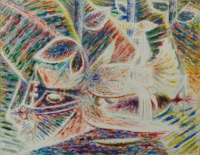 An abstract painting of animals in a brightly lit tropical setting.