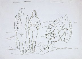 A loose pen and ink drawing of five nude female bathers