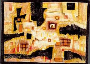 An abstract painting in yellows, reds, whites and blacks.