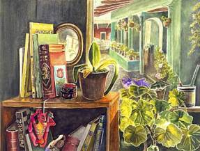 Painting of a bookshelf with books and potted plants in front of a terraced courtyard