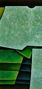 An abstract painting in greens and black