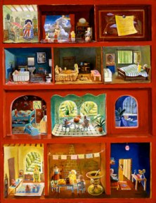 Painting of rooms in a red dollhouse