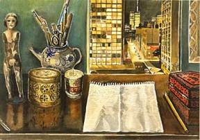 Painting of small objects and a notepad on a desk with a window overlooking New York City