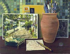 A painting of a photograph and a clay pot containing writing utensils