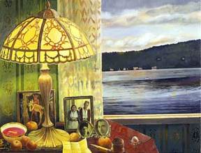 A painting of a glass lamp and photographs beside a window overlooking a lake