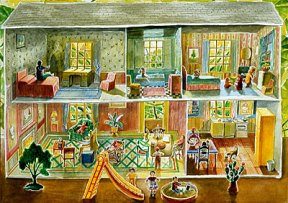 Painting in pastel hues of an elaborately decorated tin dollhouse