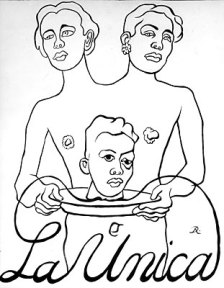 A drawing of a two-headed woman carrying a man's head on a platter.
