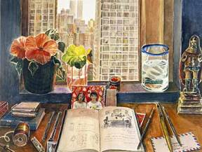 Painting of a notebook, vase of flowers, and water glass in front of a window overlooking New York City