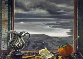 A painting of a silver pitcher and an orange on a windowsill overlooking a grey misty landscape