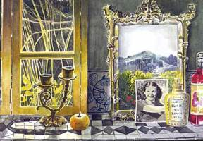 Painting of an antique mirror, photograph, and candlestick on a tiled shelf