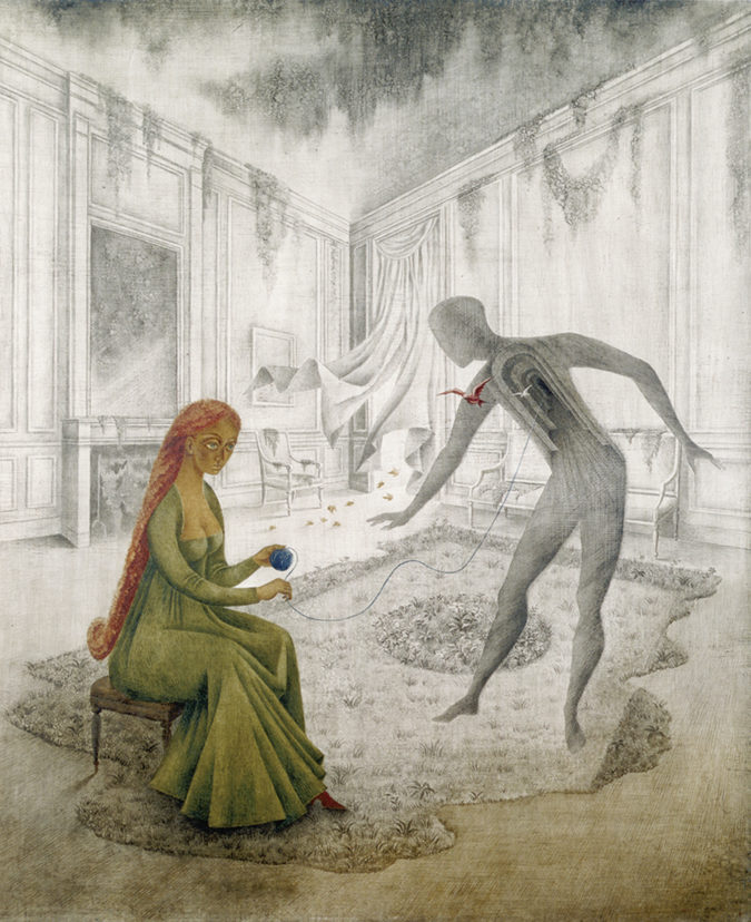 A surrealist painting of a woman seated in a large ornate room. She holds a ball of yarn which connects to an outline of a man, whose chest reveals a series of arched doorways.