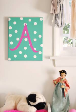 Painted Initial On Polka Dot Canvas